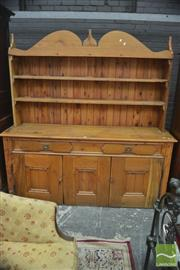 Sale 8291 - Lot 1019 - Large Rustic Pine Kitchen Dresser, with open shelves, above two drawers and two doors