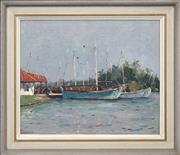 Sale 8420 - Lot 559 - Will Ashton (1881 - 1963) - Untitled (Moored Boats) 35.5 x 43.5cm