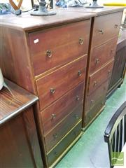Sale 8447 - Lot 1069 - Pair of Teak Tall 5 Drawer Chests