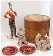 Sale 8653A - Lot 65 - A group of wares including an Oriental treen circular box, D 15.5cm, pottery figures, pin dishes, and a Capodimonte solider (as found)