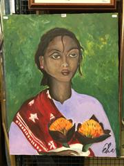 Sale 8659 - Lot 2151 - Artist Unknown - Portrait of a Woman Holding Dahlias, acrylic on canvas, 77 x 60.5cm (frame size), signed lower right