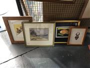 Sale 8903 - Lot 2067 - Group of (4) Original Artworks incl: Watercolour Seascape, African Mask Study; Etching of a Fish; together with a Childrens Illustra...