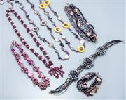 Sale 9037F - Lot 86 - SIX CULTURED FRESHWATER PEARL AND GEMSET NECKLACES AND BRACELET; matching 5 strand necklace and bracelet of black pearls, mother of...