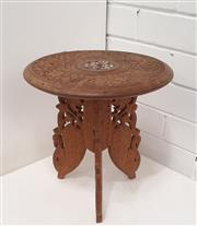 Sale 9071 - Lot 1054 - Inlaid & Heavily Carved Indian Side Table (H:32 x D:31cm)