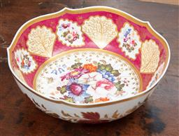 Sale 9120H - Lot 32 - An early C19th English floral themed bowl with gilt rim, Diameter 27cm