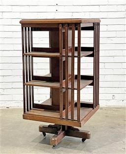 Sale 9126 - Lot 1225 - Early 20th Century Possibly Australian Blackwood Revolving Bookcase, of three tiers (some faults, h120 x d61cm)