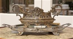 Sale 9190W - Lot 27 - An antique silver plated French centrepiece on mirrored stand.