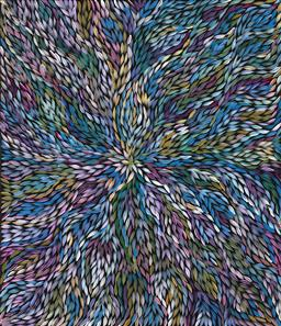 Sale 9239A - Lot 5001 - JEANNIE (PITJARA) PETYARRE (C1956 - ) - Yam Leaf Dreaming 110 x 95 cm (stretched and ready to hang)