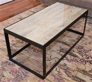 Sale 8308A - Lot 167 - A glass top with drift wood insert coffee table, with steel frame 50 x 60 x 120cm