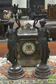Sale 8359 - Lot 1076 - Pair of French Spelter Table Lamps, of classically robed women, holding aloft a leaf capped socket, on rouge marble bases
