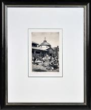 Sale 8382 - Lot 582 - Lionel Lindsay (1874 - 1961) - Old George Street Markets 21 x 14.5cm