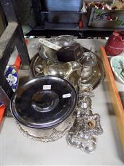 Sale 8365 - Lot 75 - Silver Plate Pair of Candle Sticks with other Plated Wares incl. Gravy Boat