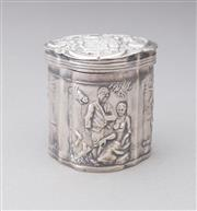 Sale 8518A - Lot 53 - A Hallmarked Sterling Silver box with repousse decoration depicting figures in traditional dress, likely to be of European manufactu...