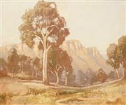 Sale 8583A - Lot 5013 - Dixon Copes (1914 - 2002) - Sunlit Bluffs, Capertee Valley 49.5 x 59.5cm