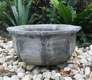 Sale 8772A - Lot 61 - A Carved Stone Planter General Wear Small Chips On Base Size:39cm D x 19cm General Wear