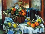 Sale 8859A - Lot 5014 - Margaret Olley (1923 - 2011) - Basket of Oranges, Lemons and Jug 92 x 120cm (frame: 104 x 133cm)