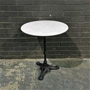 Sale 8975K - Lot 39 - Cafe Table with White Marble Top above Cast Iron Base - 60cm diameter