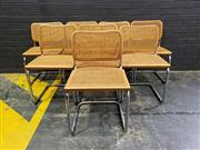 Sale 9022 - Lot 1030 - Set of 8 Chrome Cantilever Dining Chairs with Rattan Seats and Backs (h:83 x 47cm)