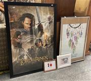 Sale 9069 - Lot 2064 - A collection of 5 posters and prints including an unframed signed Avengers End Game and a framed Return of the King -
