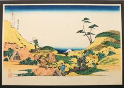 Sale 9098 - Lot 287 - Hokusai marked Japanese woodblock print Shimomeguro from the 36 views of Mt Fuji series (39.5cm x 26.5cm)
