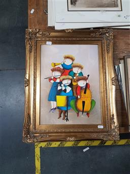 Sale 9127 - Lot 2078 - J. Roybal, Quintet, acrylic on board, frame: 53 x 44 cm, signed lower right