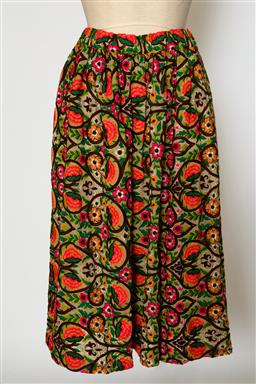 Sale 9095F - Lot 67 - A Comme des Garcons multicoloured embroidered floral skirt with elasticated waist, size S-M.