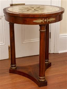 Sale 9190W - Lot 28 - A pair of French empire style side tables with painted motif, some distress to upper surface. Height 65 x diameter 56cm