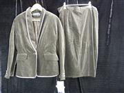 Sale 7982B - Lot 169 - Louis Feraud olive green velvet cocktail suit (Euro 44)