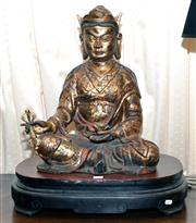 Sale 7997 - Lot 50 - LARGE PAINTED GILT & RED BUDDHA, LATE QING (WITH STAND)