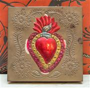 Sale 8222 - Lot 20 - A pressed metal box with sacred heart design, 20 x 20cm ex Romeo and Juliet