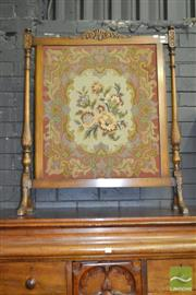 Sale 8255 - Lot 1079 - Carved Maple Fire Screen, with tapestry panel
