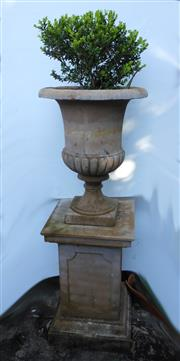 Sale 8256A - Lot 30 - A tall cast stone garden urn on stand. Some old crack repairs / chips. Overall Ht: 140 cm, Urn 68 x 53 cm