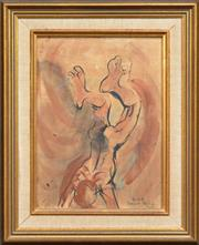 Sale 8286 - Lot 562 - Donald Friend (1915 - 1989) - Diver, Bali 34.5 x 25cm