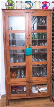 Sale 8298 - Lot 87 - A timber and glass cabinet 210 x110 x 55cm
