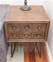 Sale 8308A - Lot 213 - An apothecary style two drawer side table, H 65 x D 50 x 50cm