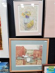 Sale 8491 - Lot 2005 - Joanna Wright (2 works) - Filkins Farmyard; Peonies and Pears frame size: 50.5 x 56.5cm; 45 x 36cm