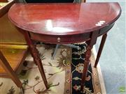 Sale 8589 - Lot 1047 - Inlaid Timber Demi Lune Hall Table with Single Drawer