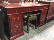 Sale 8740 - Lot 1597 - Twin Pedestal Desk with Tooled Leather Top