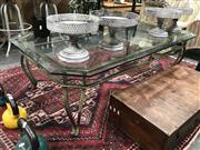 Sale 8889 - Lot 1400 - Glass Top Coffee Table over Metal Base