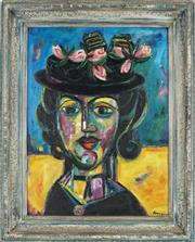Sale 8907 - Lot 591 - Elwyn Lynn (1917 - 1997) - Black Hat 48 x 36 cm