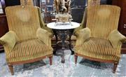Sale 8939 - Lot 1065 - Pair of Louis XVI Style Mahogany Armchairs, with green/gold striped velvet & turned legs with gilt brass mounts. H: 99, W: 83, D: 84cm