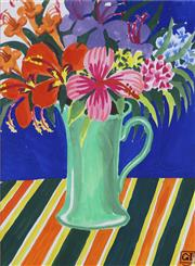 Sale 8945A - Lot 5003 - Greg Irvine (1947 - ) - Still life with Mixed Flowers and Jug 35 x 26 cm