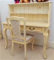 Sale 8990H - Lot 63 - A pine and yellow painted shabby chic desk and hutch together with a matching chair, Height 126cm x Width 120cm x Depth 51cm