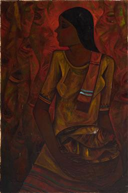 Sale 9096A - Lot 5013 - Roger San Miguel (1940 - ) - Young Woman Carrying a Basket of Fish 92 x 61 cm