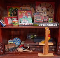 Sale 9103H - Lot 23 - Two shelf lots of vintage games including Hoopla and carpet bowls.