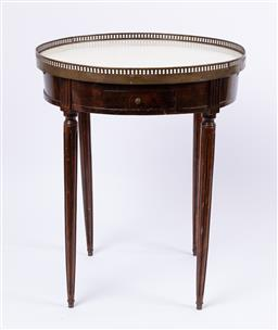 Sale 9135H - Lot 73 - An early 20th Century French bouillotte table with brass gallery and marble top, fitted with two drawers, 76cm Height, 62cm Diameter