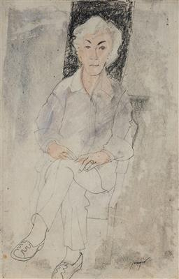 Sale 9150 - Lot 564 - ROBERT JUNIPER (1929 - 2012) - Portrait of Judy Cassab 57 x 37 cm (frame: 56 x 46 x 3 cm)