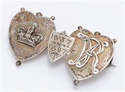 Sale 9180E - Lot 78 - A sterling silver double heart and shield brooch, depicting the crown and VR, Length 4cm, weight 3g