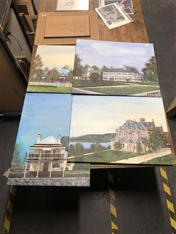 Sale 9152 - Lot 2084 - JOHN COLBERT - Churches and Buildings (x4 paintings) largest: 51 x 61 cm