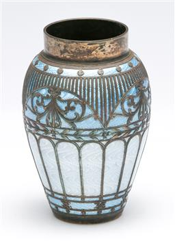 Sale 9175 - Lot 212 - A Small 900 Silver and Enamelled Vase (H:8cm)